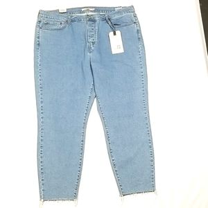 Levi's Wedgie Fit Skinny Jeans With Raw Hem Button Up Blue NWT